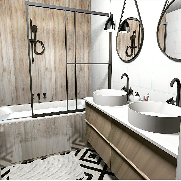 Mr & Mme L - Salle de bain & Entrée - Miramas - 3D